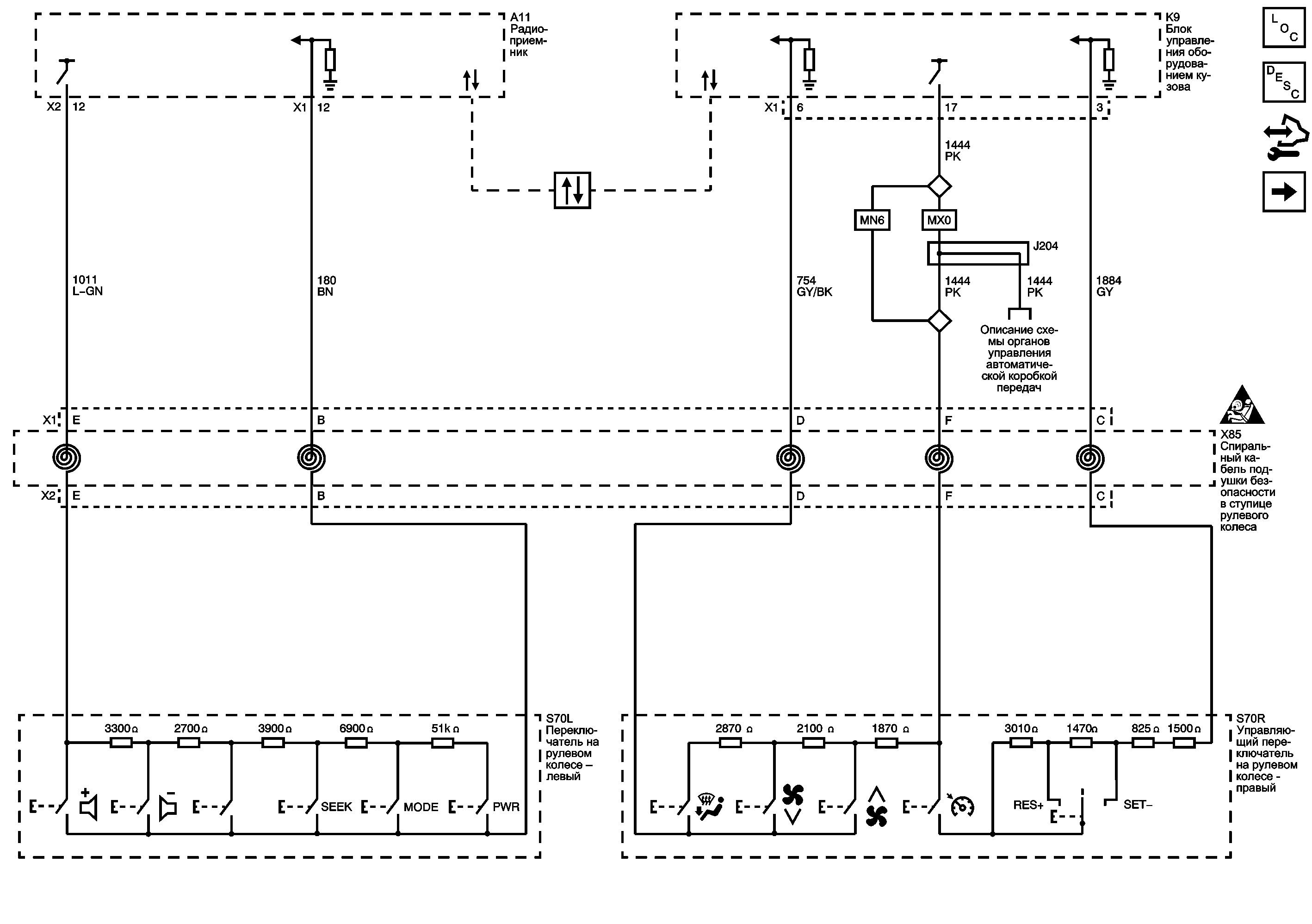 Переключатели управления круиз-контролем, аудиосистемой и климатической установкой на руле