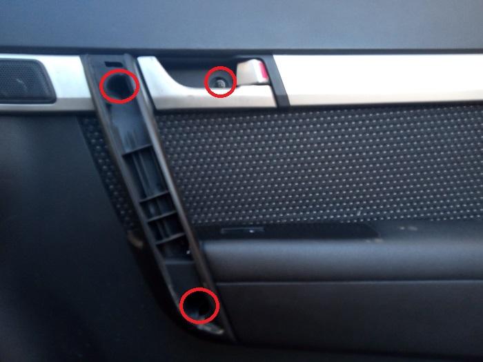 3. Расположение саморезов крепления карты двери Chevrolet Captiva C140